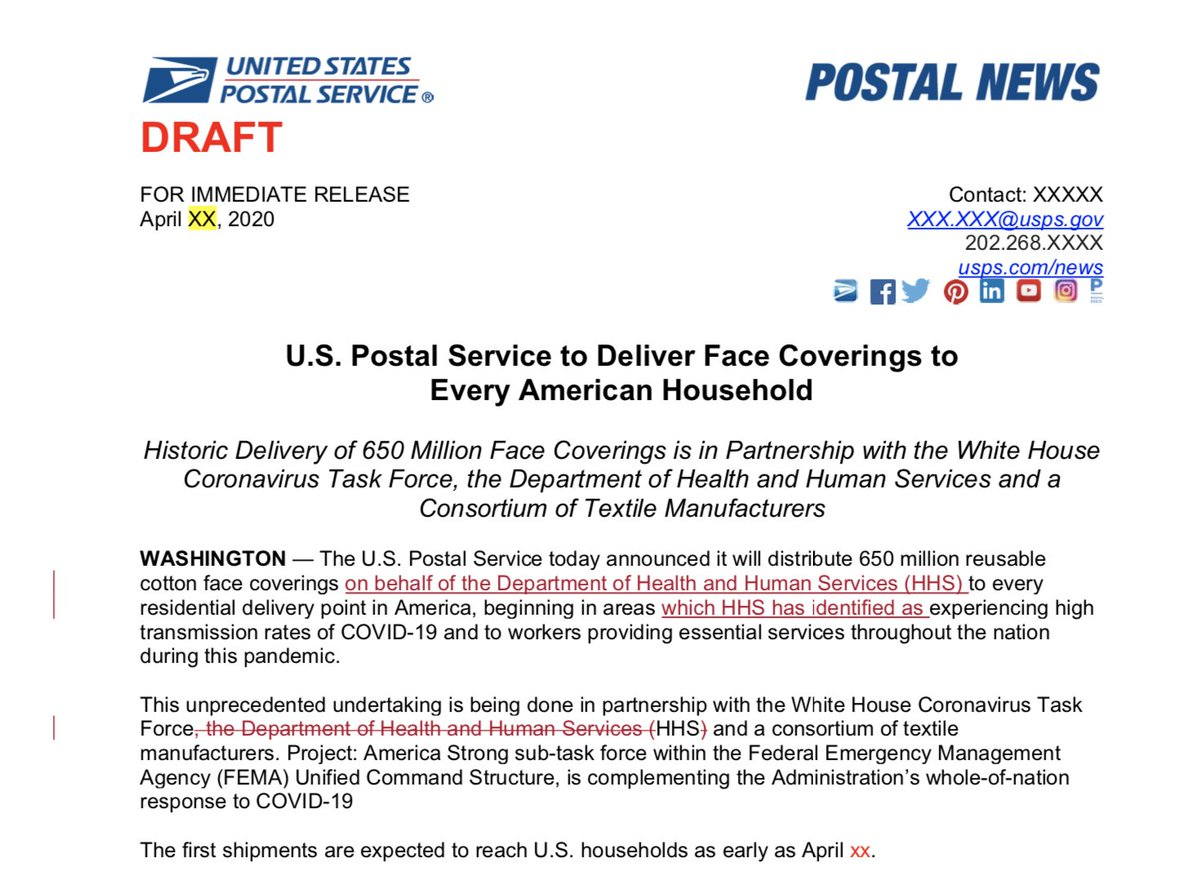 "The USPS had a plan to send 5 reusable facemarks to every household in early April. Even had a press release ready. The White House blocked the plan. ""There was concern...that households receiving masks might create concern or panic. washingtonpost.com/us-policy/2020…"