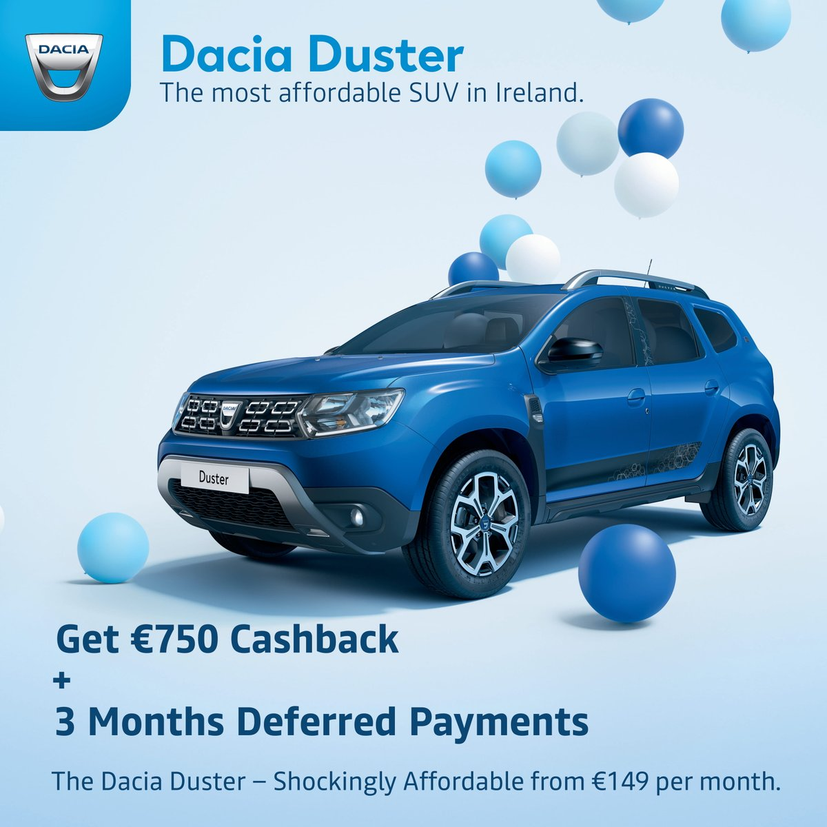 Dacia Duster with €750 Cashback. Why buy used when you can buy new? Still Shockingly Affordable from €149 per month. https://t.co/5blFj3AXNE