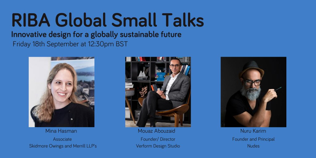 Join us tomorrow for another #GlobalSmallTalk, where we will be exploring innovative design for a globally sustainable future with host Mina Hasman and guests Nuru Karim, NUDES Mumbai and @mouazz Abouzaid, Verform, Dubai:  https://t.co/GaoOQX64nf https://t.co/Ne8nmPkjqY