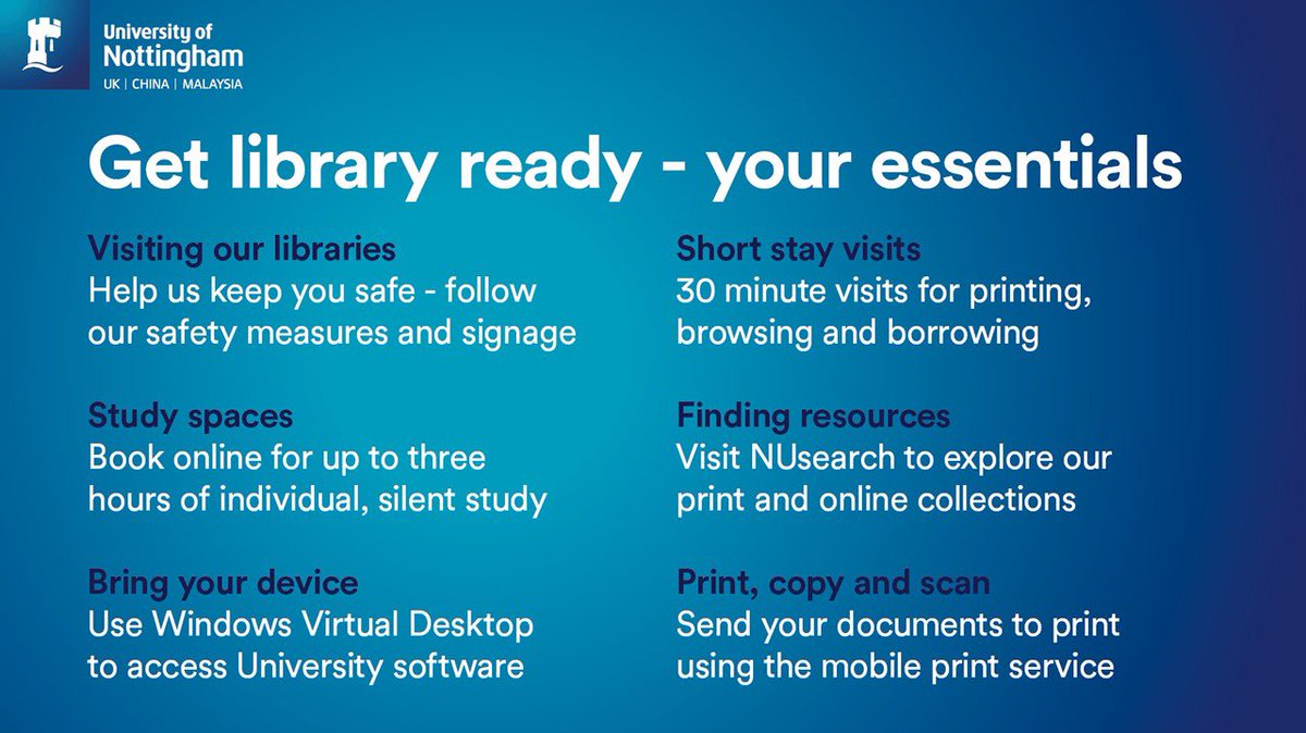 Hallward and James Cameron-Gifford libraries will offer the following services from Monday 21 September:  📝  pre-booked study space  📚  short stay visits for browsing, borrowing and printing   Bookings will go live tomorrow. https://t.co/iDKxJZSoYm