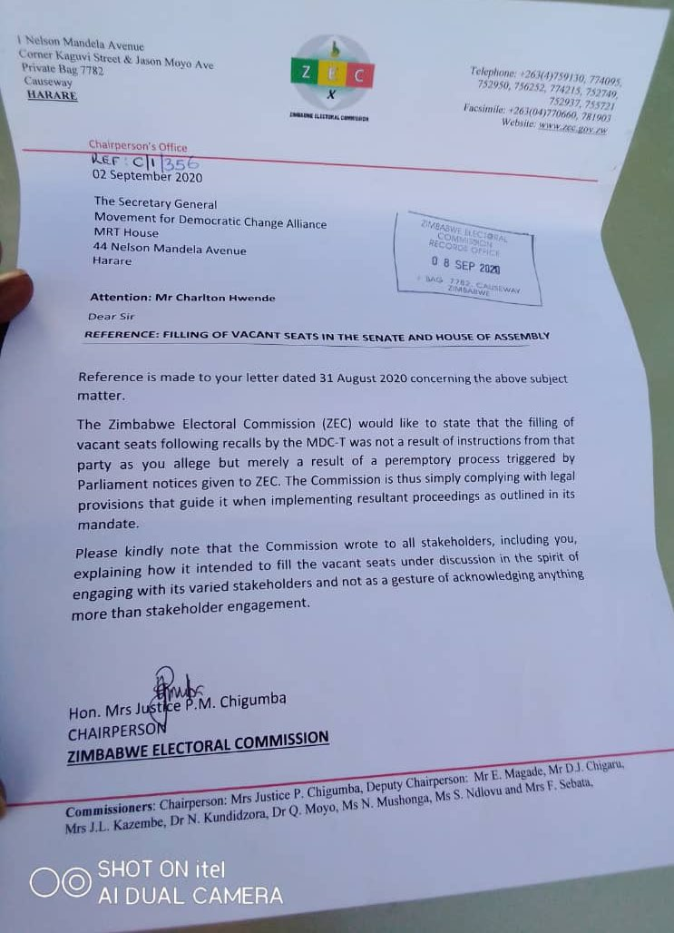 #BREAKING The electoral body @ZECzim has responded to a letter from @mdczimbabwe asking why it was filling seats won by the MDC Alliance using members of the MDC T. @ZECzim said it's following the law