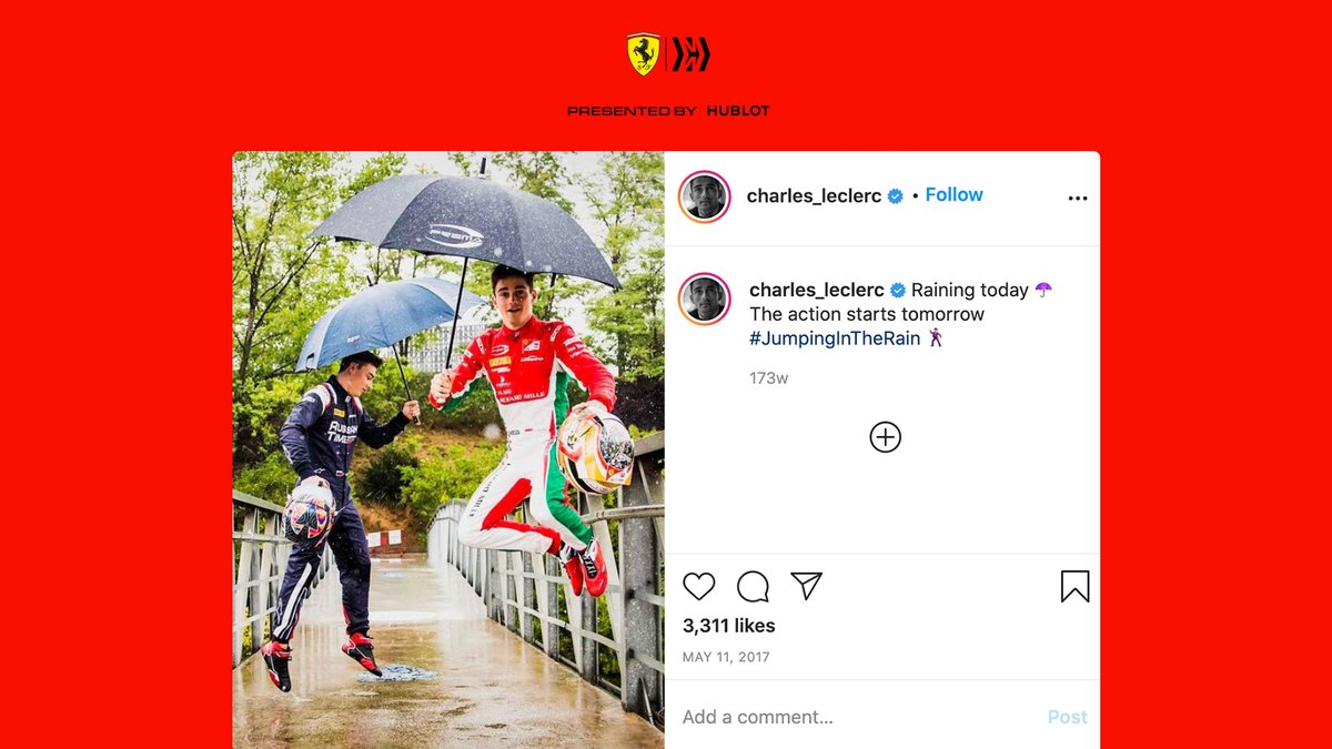 Instagram also had a gem or two 😅  #essereFerrari 🔴 https://t.co/mEAYlMXlPL