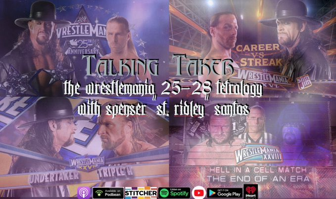Before we cover the 3rd match in this tetralogy tomorrow, do your homework with Alex and @SaintRidley as they explore the connections between all 4 Undertaker/Shawn Michaels/Triple H matches at WrestleMania! https://t.co/mQQ5N2fwOG https://t.co/OkvVYdOQb9