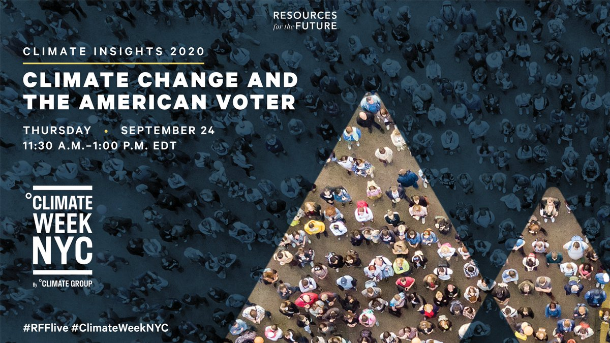 We'll be at #ClimateWeekNYC! Join us next Thursday, 9/24, for a timely conversation on #ClimateChange and the American voter. Speakers include Christina Chan, @KHayhoe, @JonKrosnick, @richardgnewell, and @JustinWorland.   Learn more and RSVP: https://t.co/8wzakH3kWF   #RFFlive https://t.co/cxdpMs26v1
