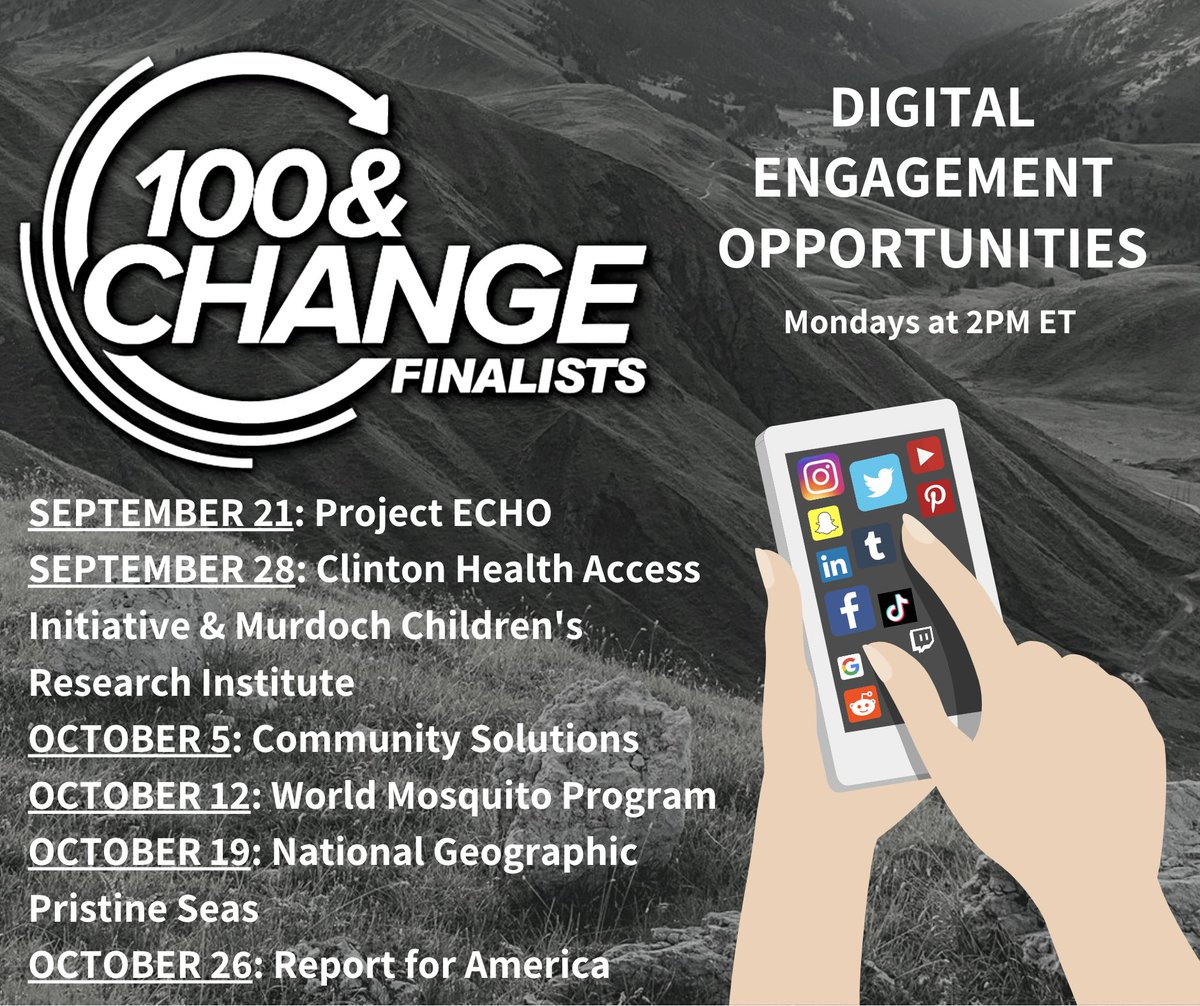 On 9/21, we're kicking off a Monday series of Q&As featuring our six #100andChange finalists! Every Monday at 2pm ET, tune in and ask them anything you'd like about their proposal that's in the running for a $100 million MacArthur grant. 👉📱  https://t.co/4I6rgcTo8r https://t.co/hyJzDOLW49