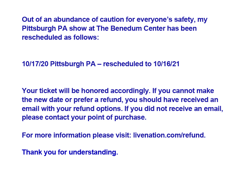 My October stand-up show in Pittsburgh PA has now been rescheduled for October 16, 2021: https://t.co/4AiaOS772O