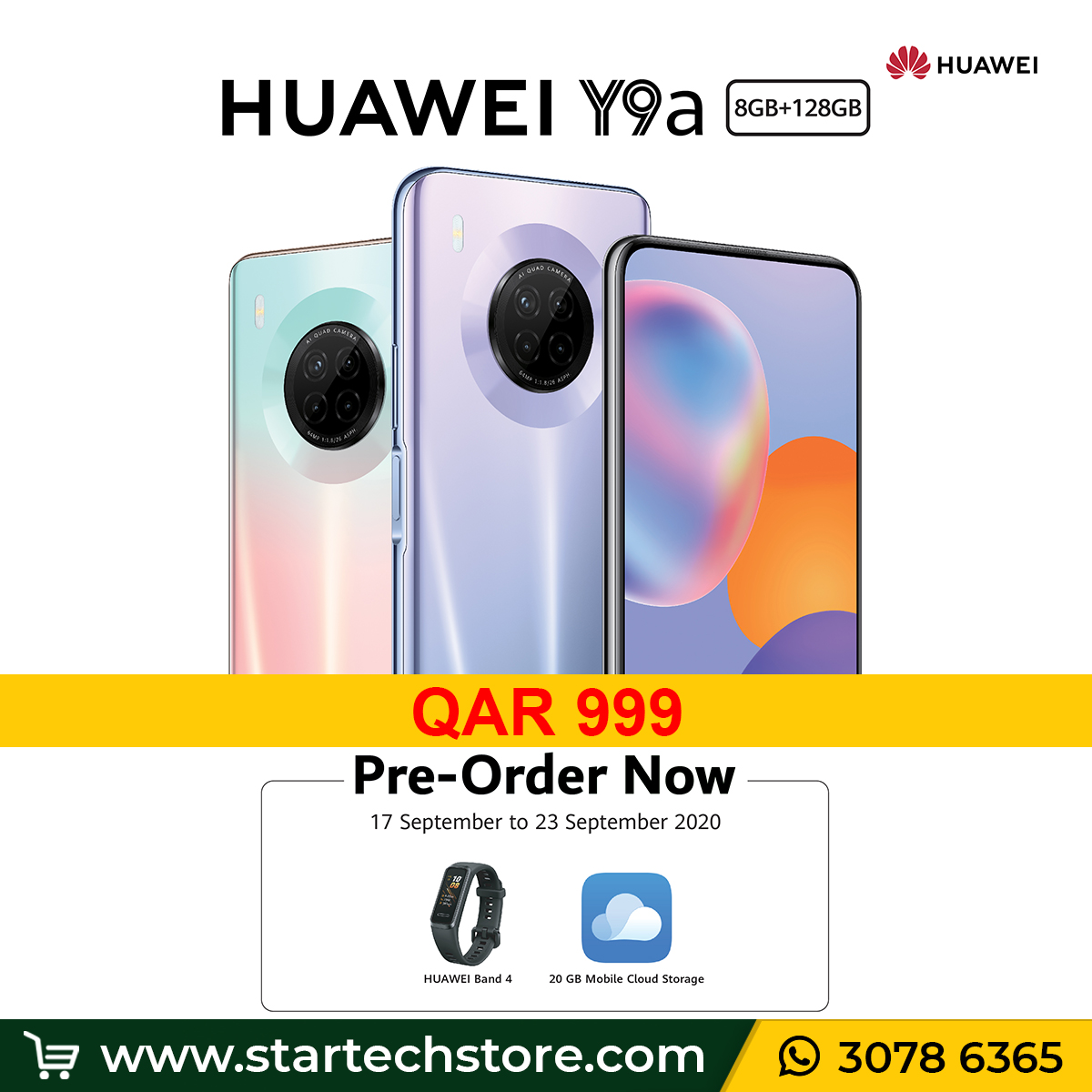 Pre-order the all new #HUAWEIY9a now for QAR 999 and get Free gifts. Revolutionize your photography with #HUAWEIY9a's super 64MP Quad Camera, do more with 4,200mAh battery and 40W super fast charging. Get yours now. Hurry..!!  🔗 Link: https://t.co/aL7scvTCyP https://t.co/bqbPyXKdU2