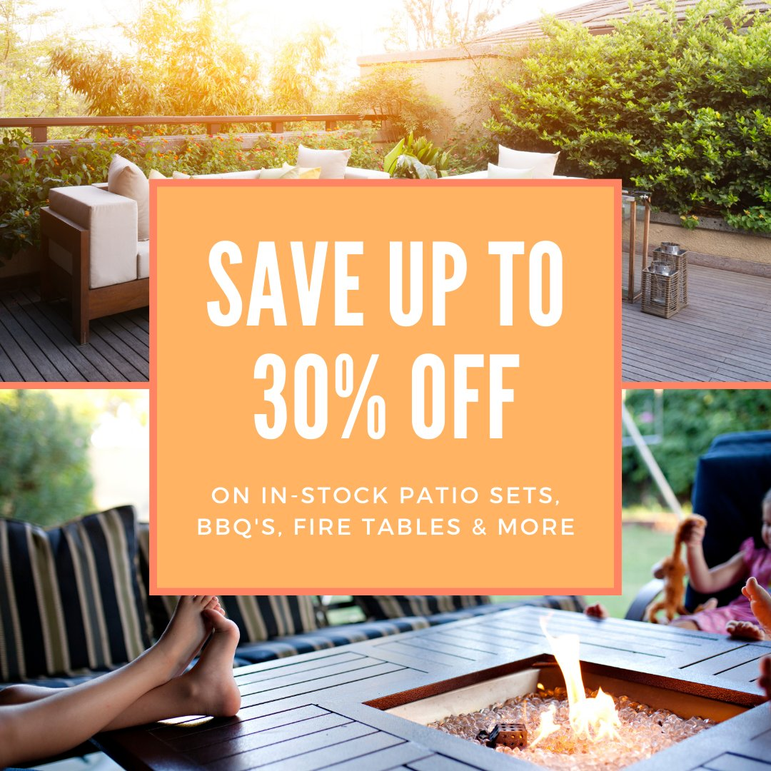 Keep enjoying your outdoor space year round with up to 30% off our patio sets, barbecues, fire tables and more! View our large selection of outdoor essentials from 9:30am-6:00pm today! #ShopLocal #SupportLocal #BuyBC   https://t.co/g1N2RyTXmB https://t.co/9punOUeckC