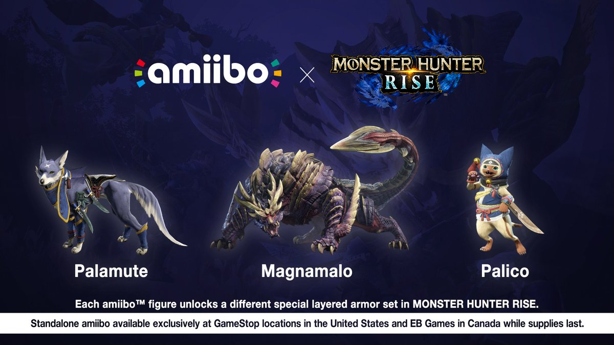 Monster Hunter Rise #amiibo are on the way! Palamute, Magnamalo, and Palico amiibo will be available @GameStop while supplies last beginning 3/26/21. #MHRise https://t.co/Zbrv0zP8xd