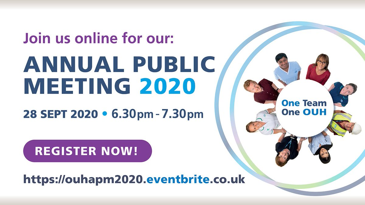 Join us for our virtual Annual Public Meeting: 28 September 6.30pm  https://t.co/T1KI0hBH24  Register: https://t.co/VNTntTtQY4  Submit questions in advance via email: apmquestions@ouh.nhs.uk  @Prof_JonMont @BrunoHolthof @SafetySamFoster @OUHCFO @InsideHealthCIO @OUH_Horton https://t.co/jbHHtTqAhI