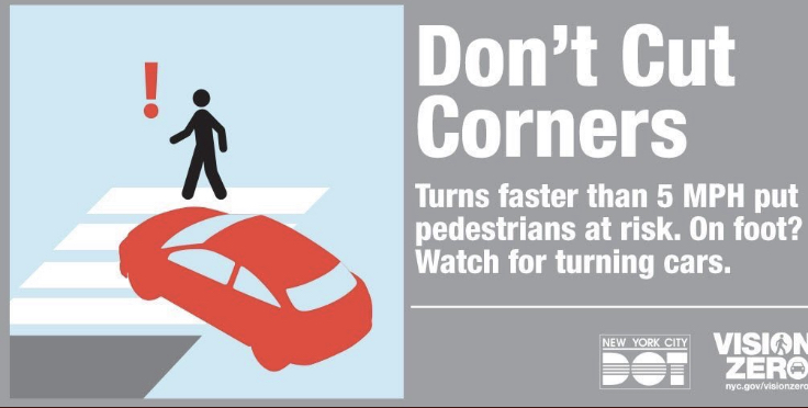 "🚨ATTENTION MOTORISTS 🚨Did you know that ""cutting corners"" can be dangerous  to pedestrians? 🚶‍♀️🚶🏻‍♂️ Keep your speed while making turns no more than 5 mph. #DriveSafeRideSafe  #VisionZeroNYC @NYPDTransport https://t.co/CVhyxlJHeE"