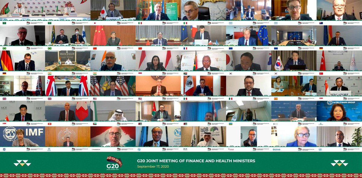 """G20 Saudi Arabia on Twitter: """"The Joint #G20 Finance & Health Ministers  Meeting concluded on Sep 17, with a joint statement on overcoming #COVID19  & alleviating its health, social & economic impacts,"""