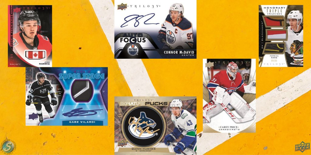 2020/21 @UpperDeckSports Trilogy Hockey features a 50-card Base Set with 3 versions of Rookie Cards. The Sig Puck inserts are back with a manufactured puck & hard-signed autos! Also find other puck themes with rookies to hall of famers! Get these below! 3️⃣ https://t.co/w9WHZP1gNu https://t.co/eF7EYhp4Lh