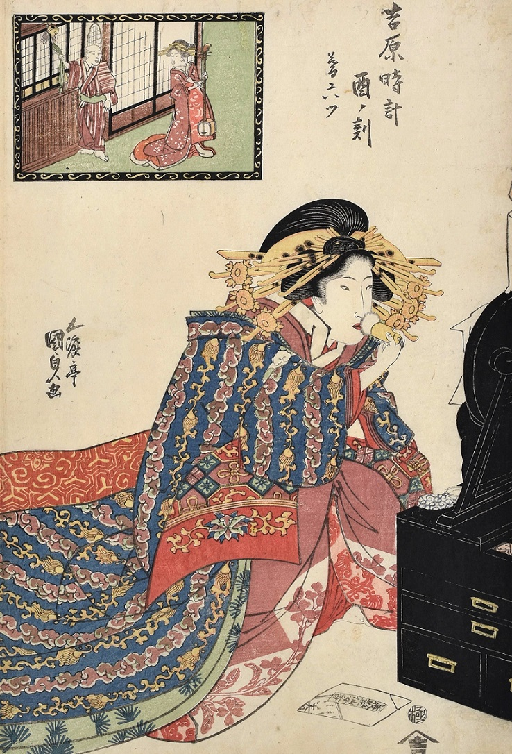 "Our new exhibition, ""Composing Beauty"" is open now! As part of @asiaweekny.   Utagawa Kunisada (#ToyokuniIII,1786-1865) Hours of the Yoshiwara: The Hour of the Rooster, Sixth Hour of Twilight, #woodblockprint, ca. 1818-20  https://t.co/v0OZukFJOL  #scholtenjapaneseart  #ukiyoe https://t.co/TaH5f3xoc8"