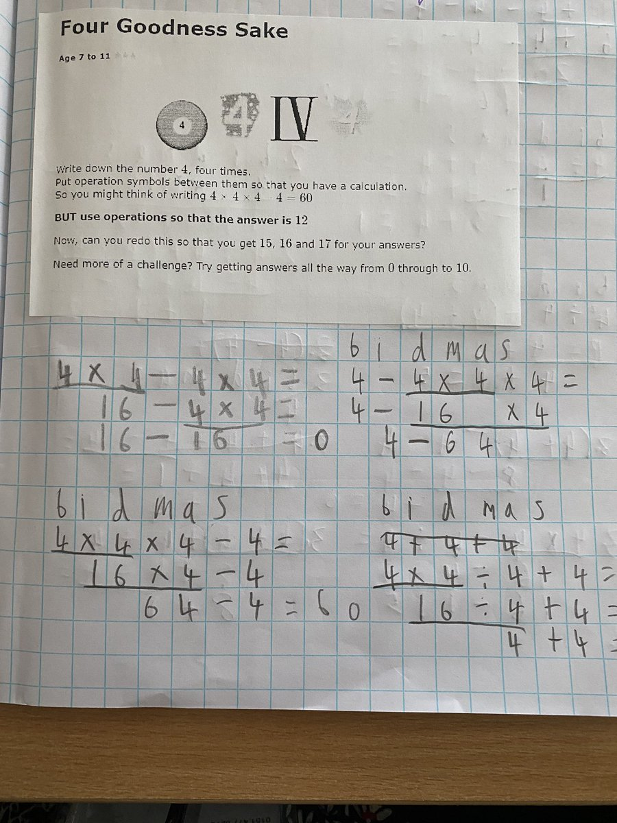 Some FANTASTIC investigative work this week using BIDMAS to help us. After 1 lesson, we have managed to use 4, 4, 4 and 4 to give answers up to 7. #resilience #funmaths #year6 @nrichmaths https://t.co/3Lqzvc4LWN