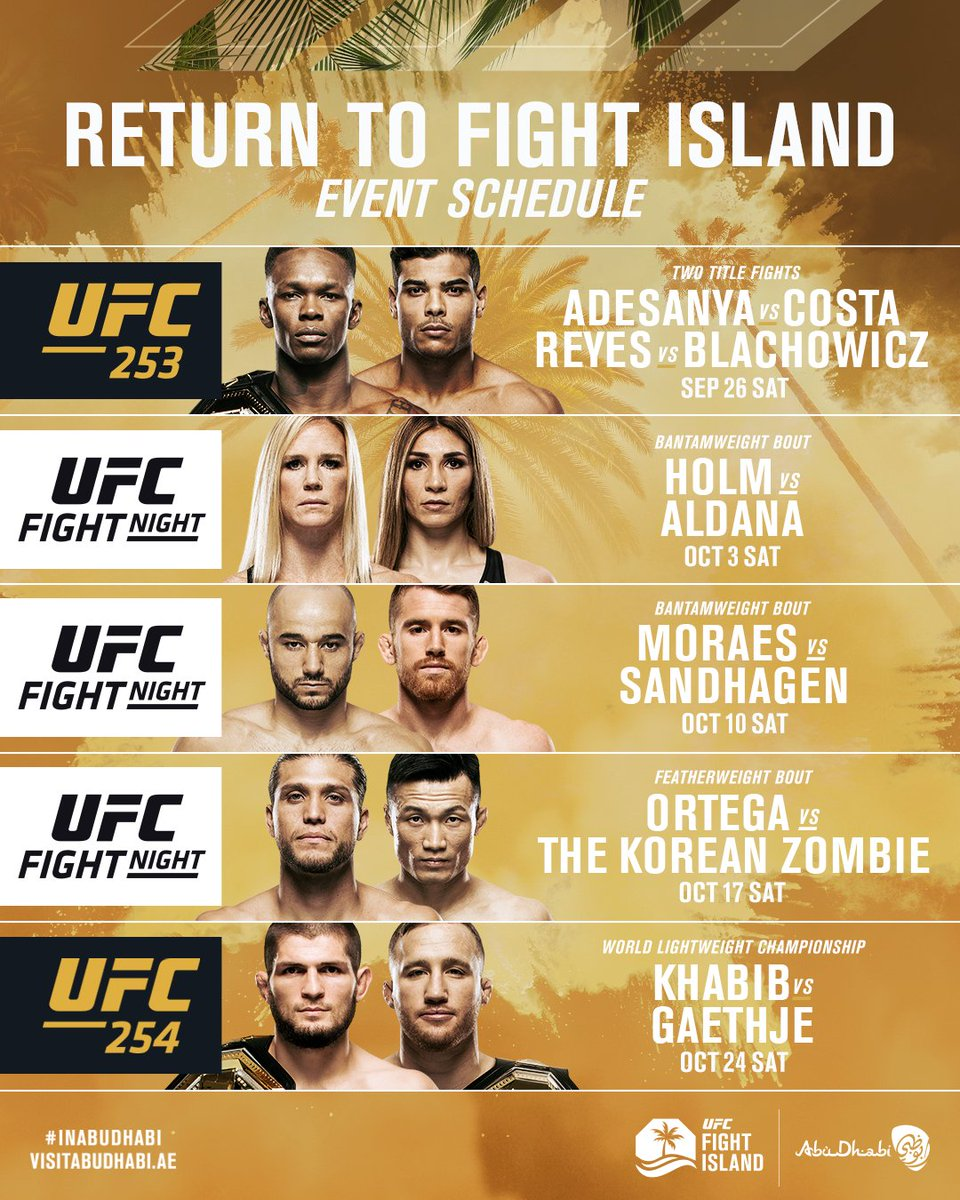 THE LINEUP.  Titles are on the line from #UFCFightIsland 🏆   🏝 @VisitAbuDhabi | #InAbuDhabi https://t.co/seqSOVQpHy