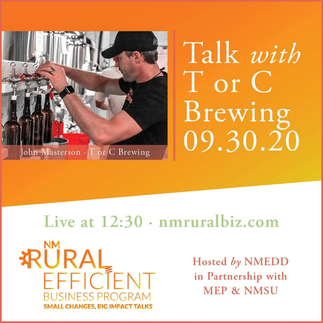 First ever in our series of interviews with rural businesses announced. Rural Efficiency Business Program - businesses will discuss practical energy efficiency efforts. #NMEcon First up, Sept 30 - T or C Brewing. @torcbrewingco Learn more: https://t.co/XHqMUgBzrj https://t.co/EcPwQAtBE0