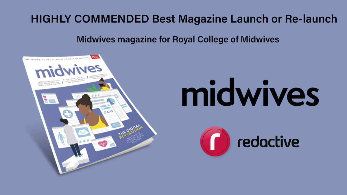 Congratulations to @Midwivesmag for the highly commended 'Best magazine launch or re-launch'! #Memcom20 @MidwivesRCM https://t.co/OjjNdC7zdC