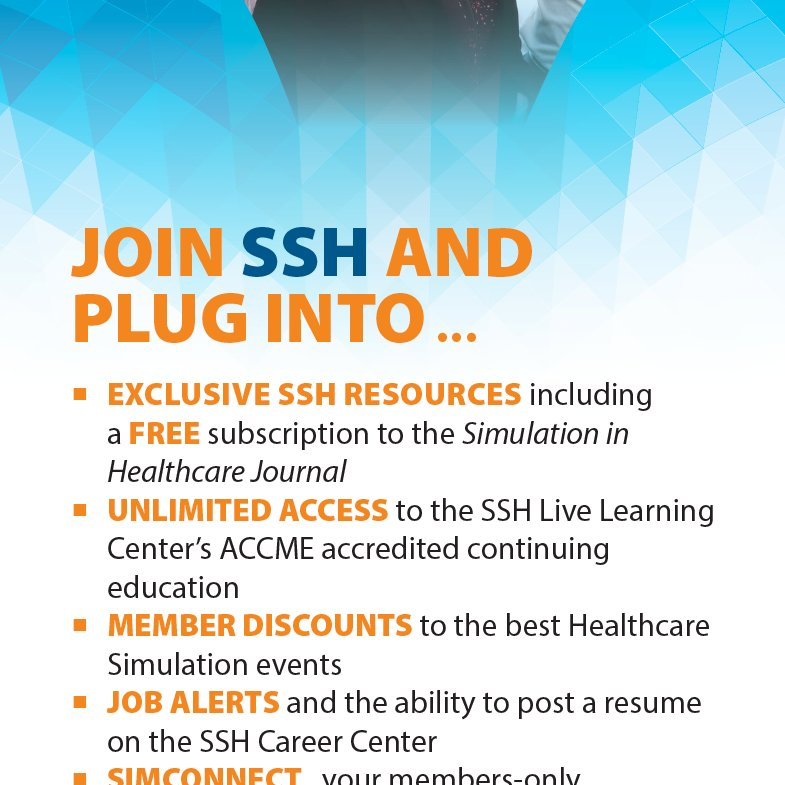 All #hcsimweek20, use code: Week20 to SAVE $25 on a full membership when you join SSH!  PLUG IN to the world's largest #healthcare #simulation society and its exclusive resource, education, & peer connection opportunities!  New members only!   https://t.co/ukxlBMnn4l https://t.co/4jOCCnz34q