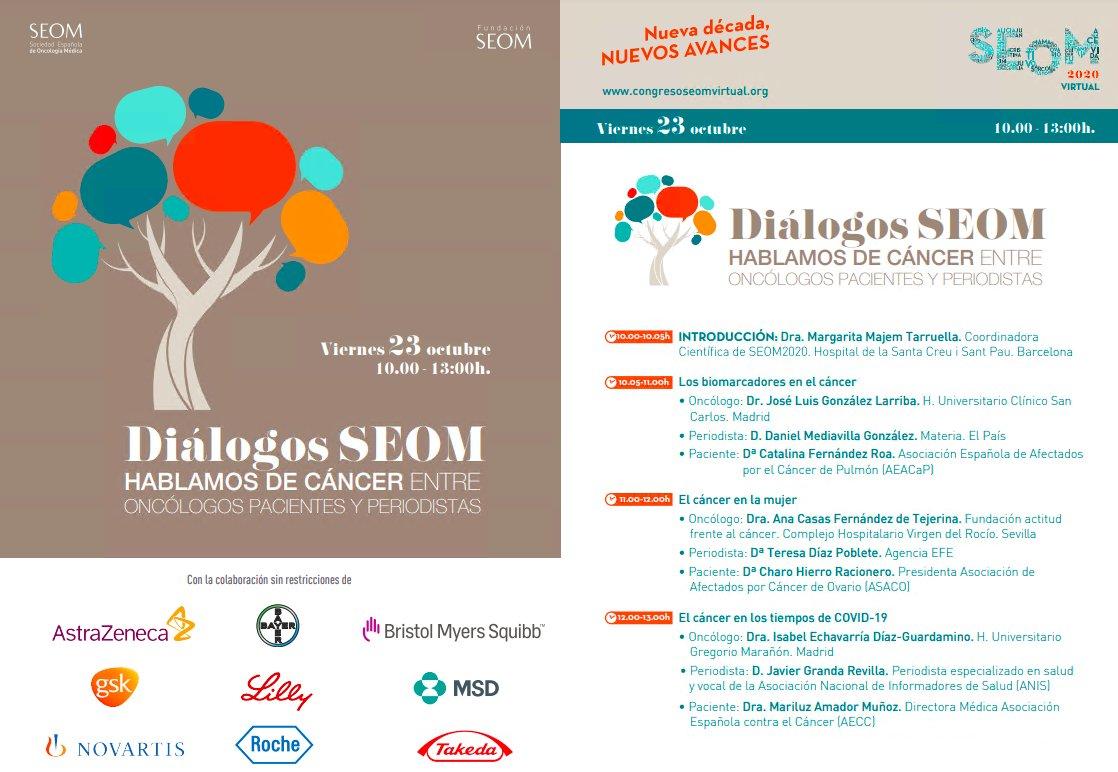 Los biomarcadores en el cáncer, el cáncer en la mujer y el cáncer durante el #COVID19, en los #DiálogosSEOM durante el Congreso #SEOM20  📆 Viernes, 23 de octubre. ⏰ De 10:00h a 13:00h.  ▶️ https://t.co/7dCuPuc8m0 https://t.co/2giB9TDrfW