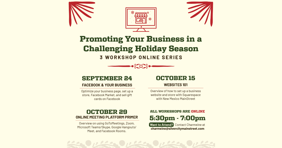 Silver City MainStreet is offering 3 online workshops on how we are doing business differently during COVID-19 and how to maximize business interactions during the holiday shopping season. ❄️ https://t.co/DddFw5XKGb via @SCSunNews #NMEcon #NMMainStreet #WeAreMainStreet https://t.co/EocxAtvA2R