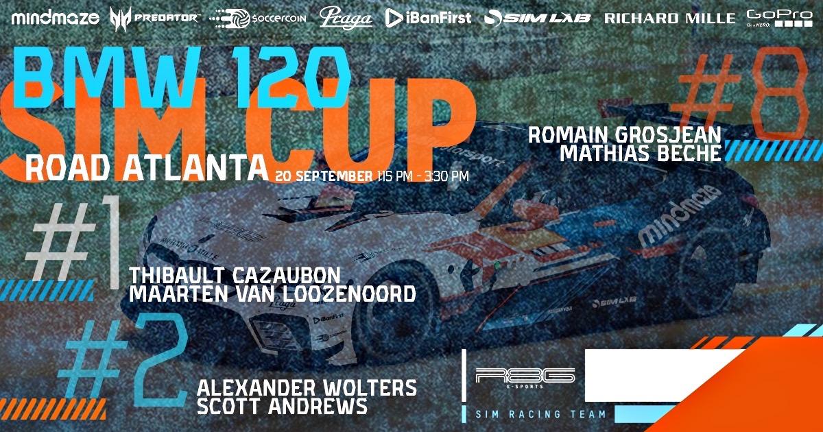 🏁 BMW Sim Cup 120 is back. So as our boss @RGrosjean is. We enter Road Atlanta with a 3-car BMW M8 GTE squad. 🔴 R8G eSports #1 : @ThibCazaubon & Maarten van Loozenoord 🔵 R8G eSports #2 : @Alex_Wolters16 & @ScottAndrews44 🟠 R8G eSports #8 : @RGrosjean & @MathiasBeche https://t.co/YgwQnUjQgW