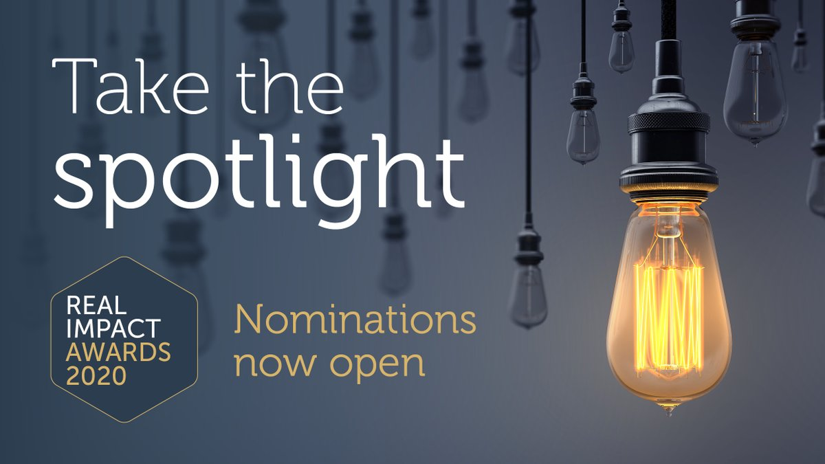 The Real Impact Awards give you the opportunity to shine a light on the difference you are making through your research. Whether you are an individual or team, we want to hear your story! To find out more and submit, click here: https://t.co/KNDCpMWp9A #RealImpactAwards2020 https://t.co/YdU1UhkvpF