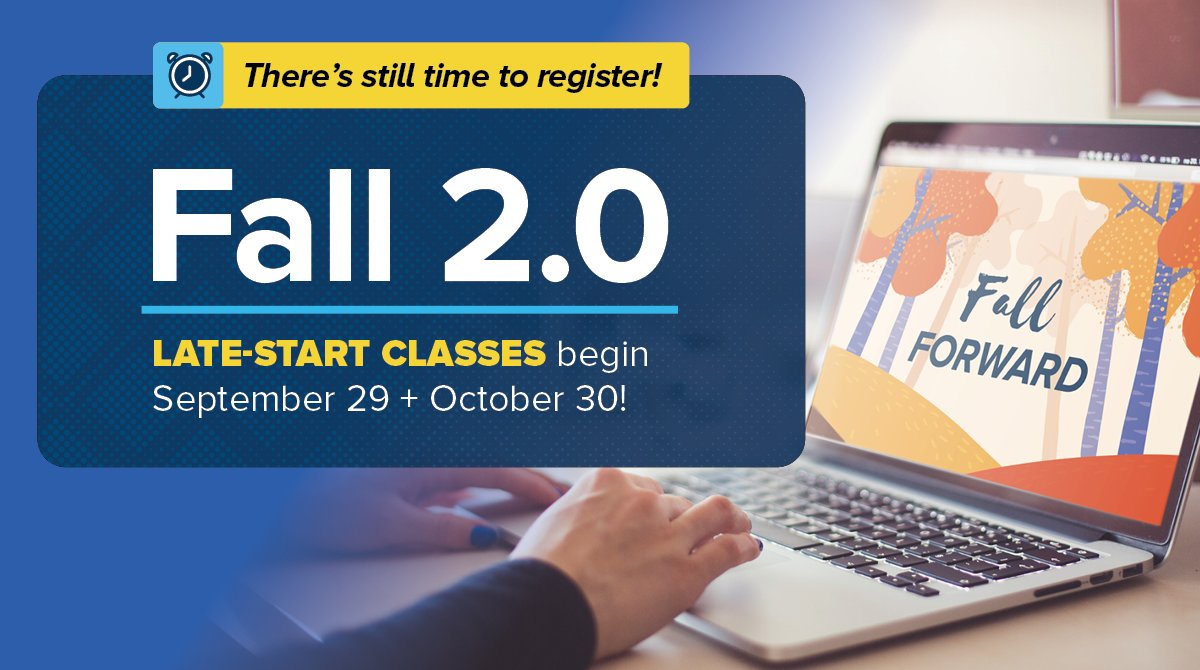 If your plans for fall have changed, there's still time to earn college credits! We've released a new set of accelerated, remote-learning classes that begin on Sept. 29 and Oct 20. Learn more at https://t.co/AfztCTY3cc. https://t.co/WsMmCqjV6c