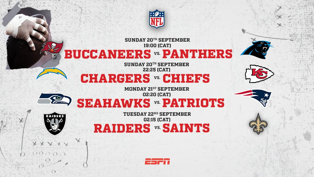 Week 2 in the @NFL is already underway and there are three games coming at you live starting Sunday at 19:00 (CAT) 🏈  #ESPN | #NFL | #ESPNAfrica https://t.co/usQc0x7QGO