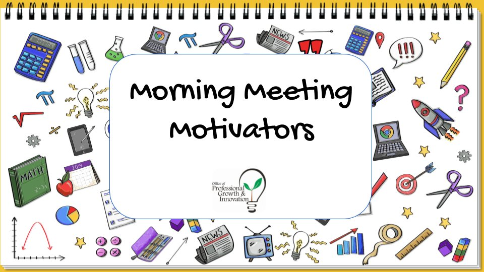 Morning Meeting Motivator UPDATE: We've updated the slide deck to include some VIRTUAL TIPS and a newly organized TABLE OF CONTENTS. 🙌 Check it out here https://t.co/TFVUdnRSLL and click PRESENT for the full effect. 😀 Stay tuned for more slides coming soon! 🍎 https://t.co/nqneZiEZJr