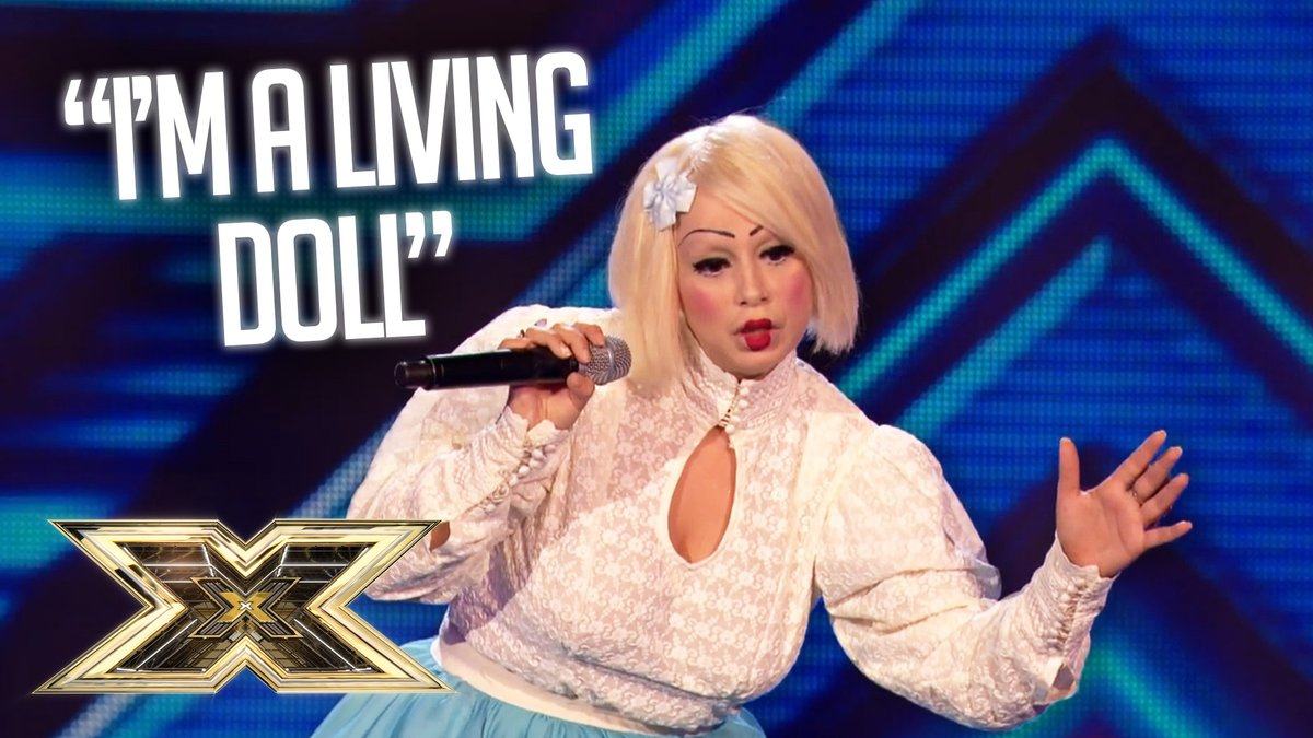 """Now this is a contestant our Judges will NEVER forget!😆   """"Living doll"""" Sada Vidoo brought a totally unique style to The #XFactor, and we LOVED IT!🙌✨  https://t.co/CwS8Vq7xQs https://t.co/5JyBN10Uw4"""