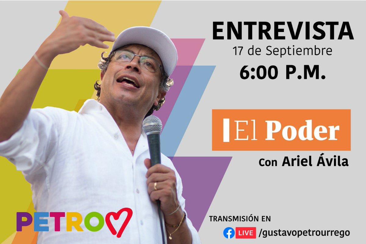 #OFICIAL Hoy 6:00 p.m. el senador @petrogustavo estará en entrevista con @ArielAnaliza en #ElPoder   Transmisión en vivo en https://t.co/pJJF4AaQge https://t.co/cAc3yfMPpL