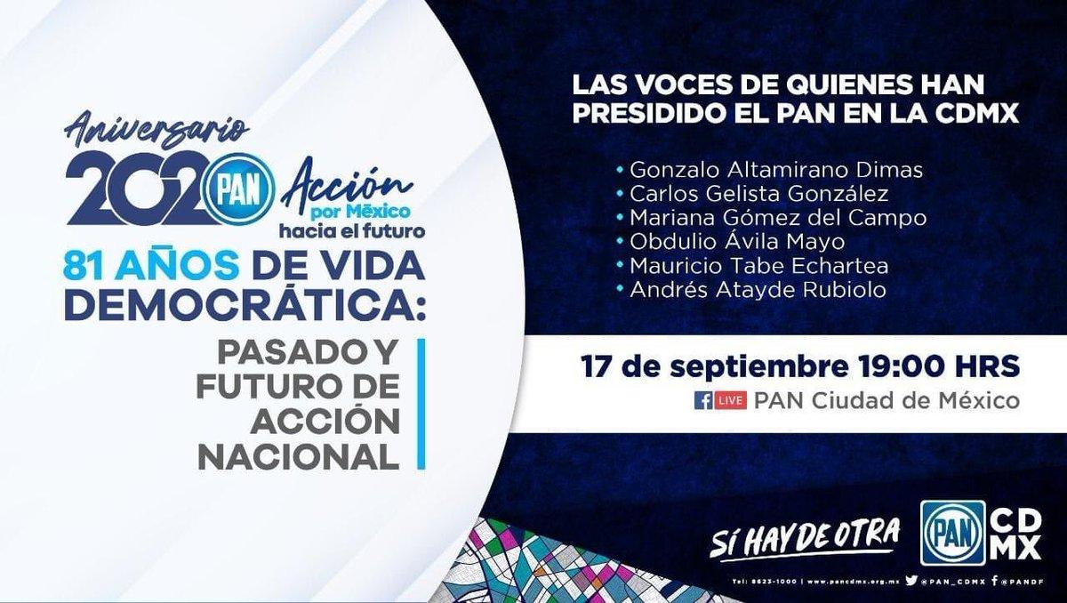 En el marco del #Aniversario2020 de @AccionNacional, participaré en un diálogo con quienes hemos presidido el partido en la Ciudad de México.  ¡Mucho que reflexionar de cara al 2021!  🔴Síguelo en vivo aquí: https://t.co/6eC2kfYfWv  #SíHayDeOtra https://t.co/3mx2niWwsg