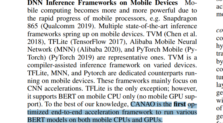 Achieving Real-Time Execution of Transformer-based Large-scale Models on Mobile with Compiler-aware Neural Architecture Optimization  BERTを最適化してモバイルGPUでも動かせるようにした論文。TFLite含め、既存の推論ライブラリを冒頭でバッサリ。OSS化が待たれる。