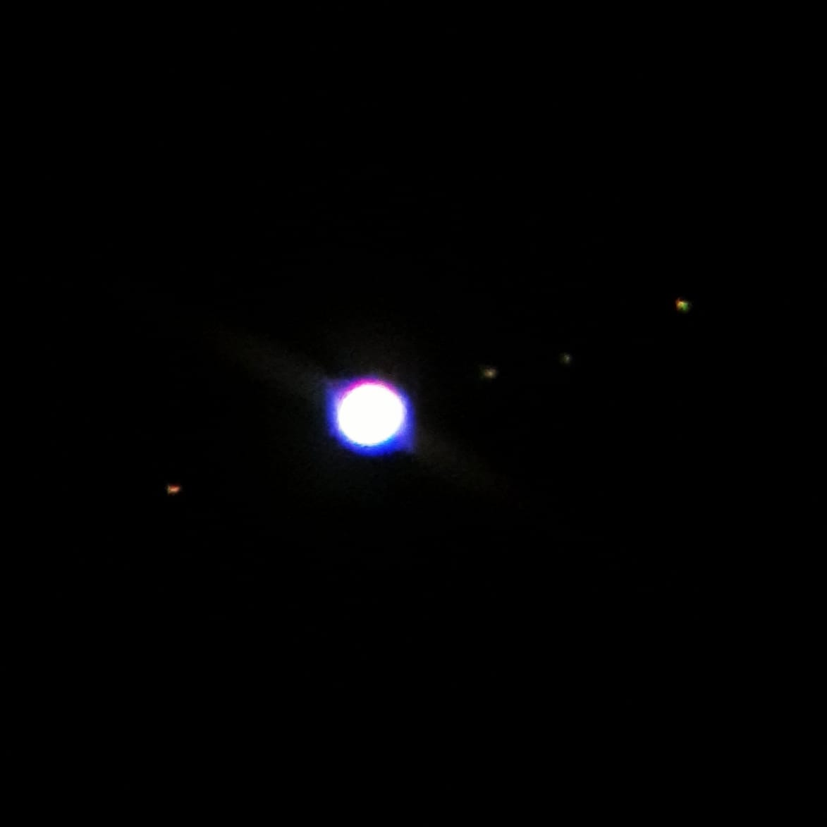 Have been obsessively staring at Jupiter and its four largest moons through my telescope most clear nights since May, the view has been clear and glorious but this is the best shot my phone can get. Next purchase stop camera me thinks #jupiter #skywatcher #telescope #Geek https://t.co/p8im7ySLKA