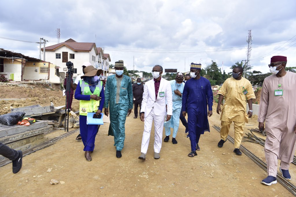 Malam Nasir @elrufai today inspected various projects under the roads component of the Kaduna Urban Renewal Project. He was conducted around by @Dattijo, who chairs the Infrastructure Development Council, and Mohammed Lawal Magaji, MD of the the Kaduna Roads Agency, KADRA https://t.co/3PtAS7Mjzr