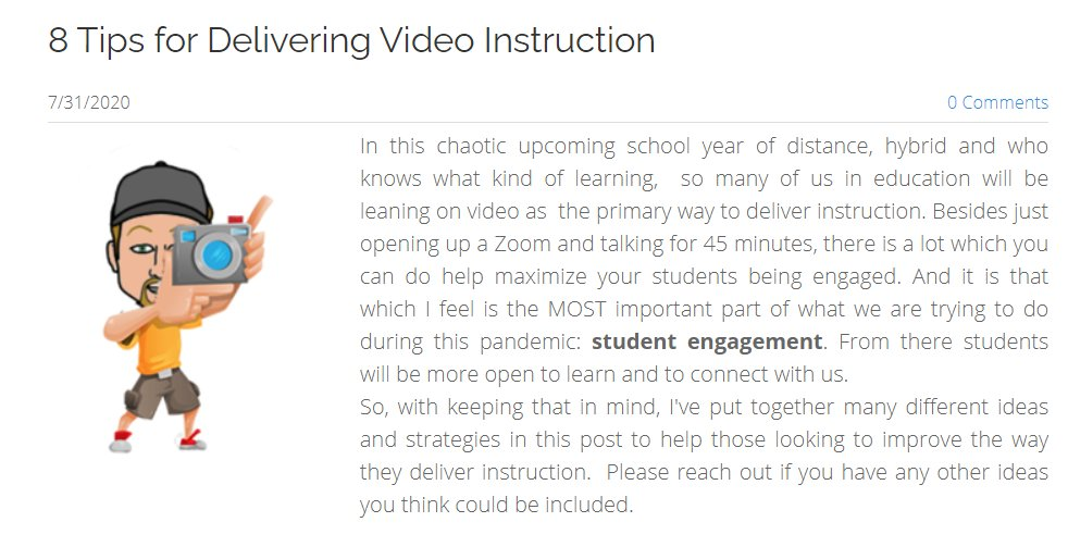 8 Tips For Delivering Video Instruction https://t.co/E94RGFGHrT #distancelearning #HybridLearning #edtech  @Screencastify @WeVideo @DoInkTweets  @edpuzzle @Logan_Fiorella https://t.co/Z4XdSbcuGe