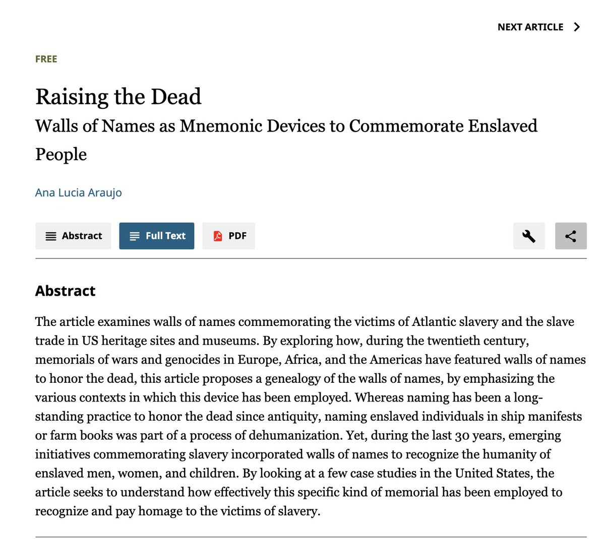 """#Twitterstorians check and share my article """"Raising the Dead: Walls of Names as Mnemonic Devices to Commemorate Enslaved People"""" published (ahead of print) in Current Anthropology, free access forever! #slaveryarchive https://t.co/EZzU0YZOVA https://t.co/7CkvOBZdln"""