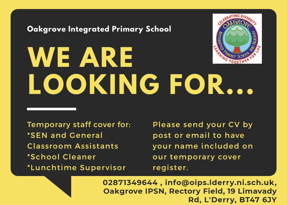 We are currently updating our temporary staff register and welcome CVs for the positions stated below. Please note that interested parties may be contacted at short notice to cover in times of staff absences. @DerryDiaspora @NWSharingZone @OIntegrated @Ed_Authority https://t.co/dvNvWWaSjA
