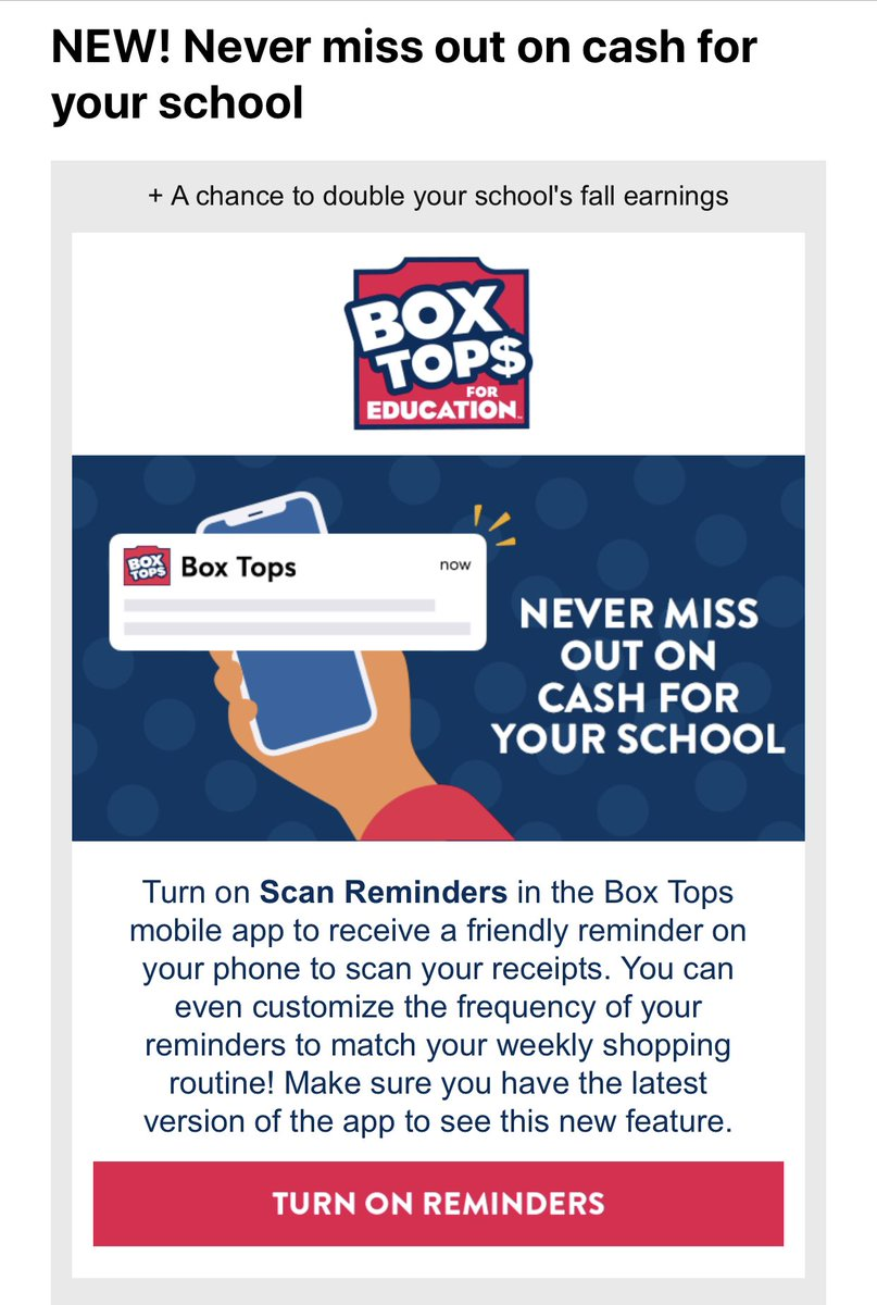 Update your @boxtops4edu App. & take advantage of the #NewFeature called #Reminders. Reduce the amount of #ExpiredReceipt messages that you've been getting. 🚫🧾 https://t.co/PYecvIXSU9
