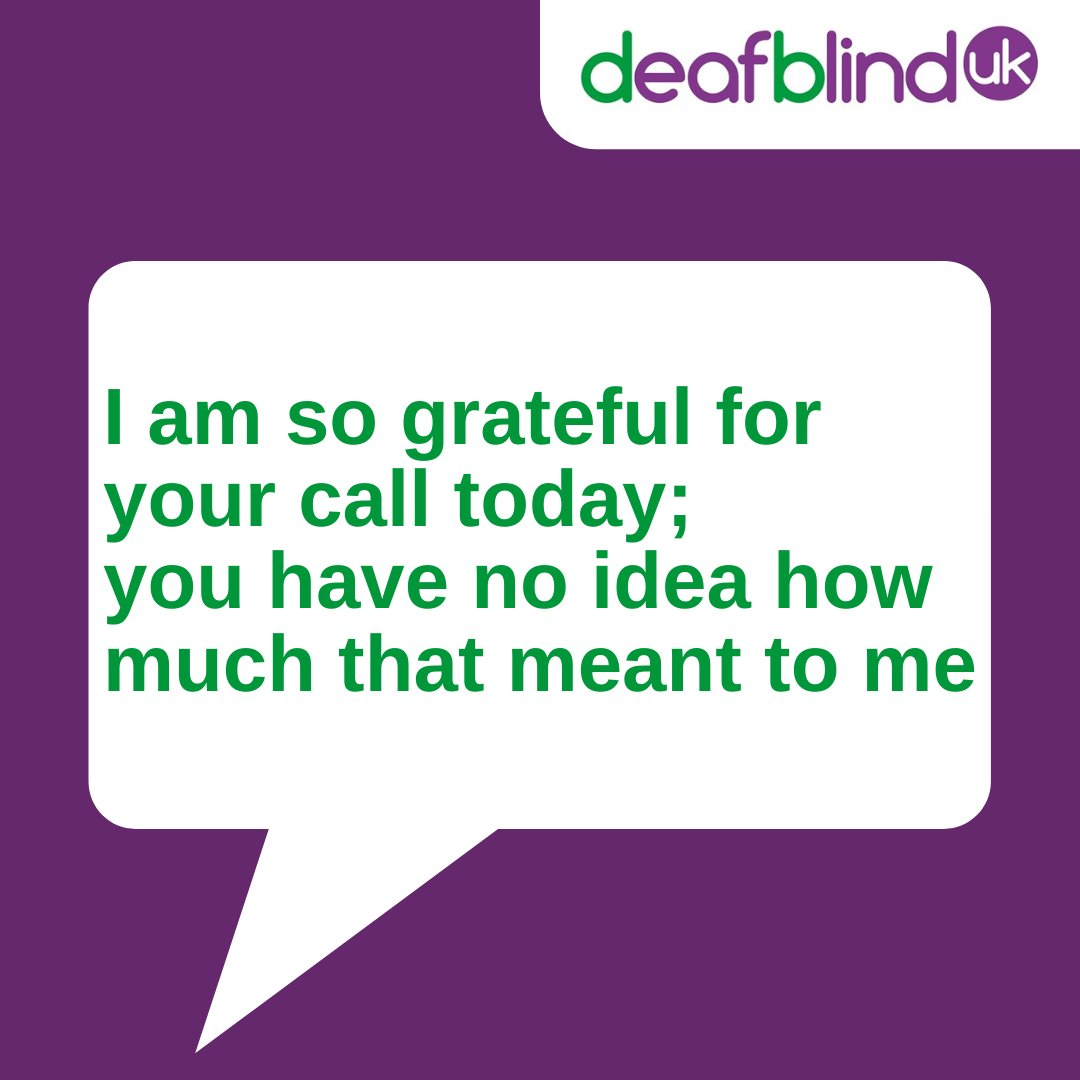 A lovely quote showing the difference our helpline makes everyday to people who are deafblind...  Tel: 0800 132320 Text: 07950 008870 Text relay: 18001 then 0800 132320 Facetime: helpline.dbuk@deafblind.org.uk (Not BSL) BSL video relay: https://t.co/L9ezknQJNd https://t.co/evBZVrd4V4