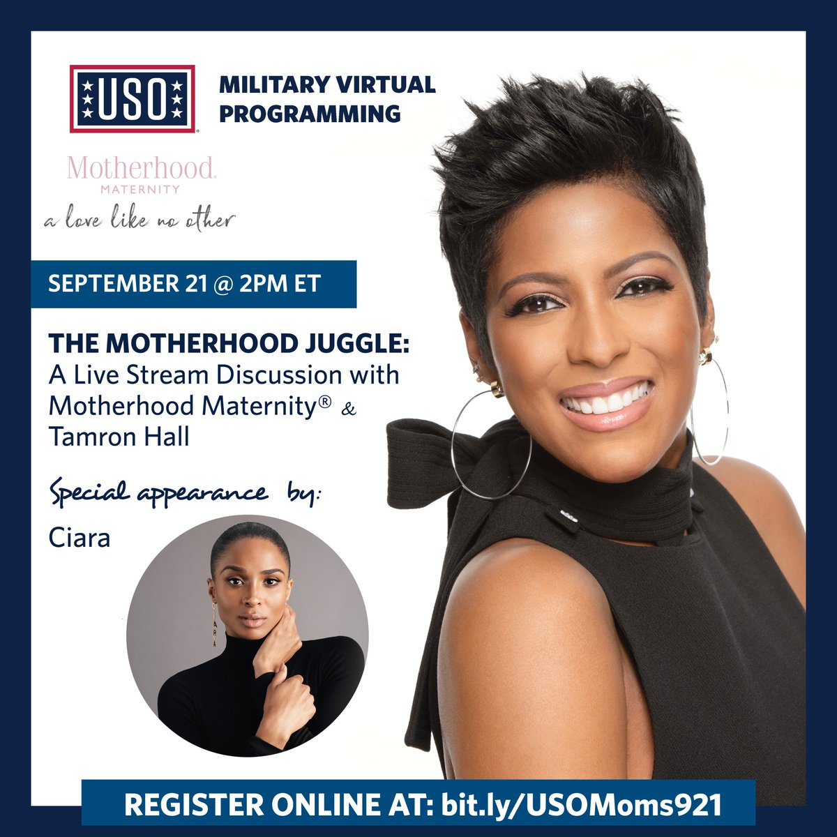 I'm excited to chat with @tamronhall about the motherhood juggle in conjunction with @the_USO! Join us 💃🏽 https://t.co/qtX8NVuooO https://t.co/cfJXmQxkvq