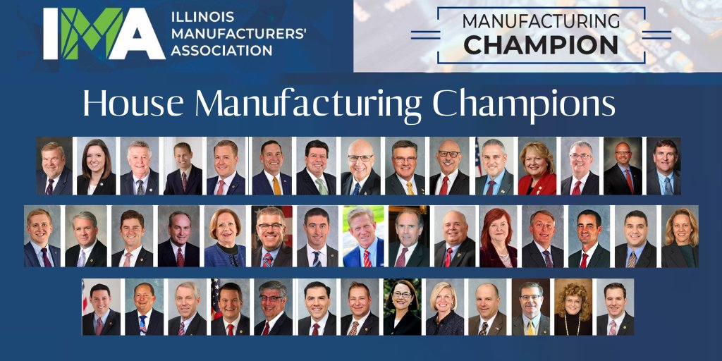 The IMA appreciates those lawmakers that have a strong record of support for the manufacturing sector.   Thank you to all of our Illinois House #Manufacturing Champions!     https://t.co/zs3Y4QHfUf https://t.co/iwF9tNScN6