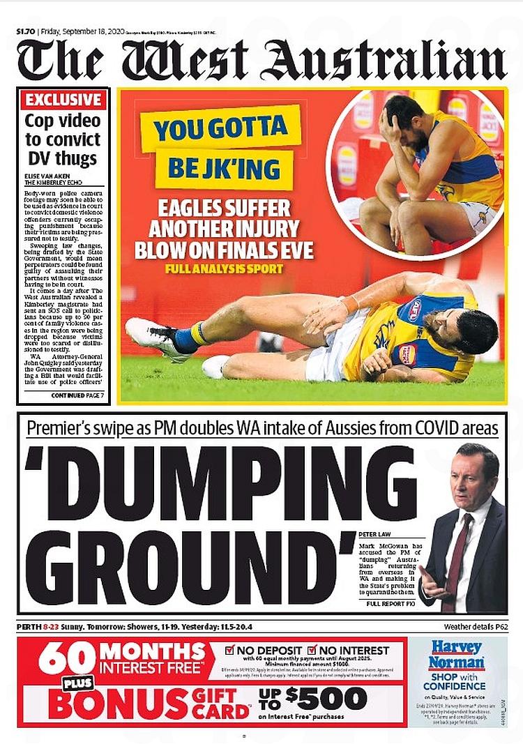 'Dumping Ground'. Premier's swipe as PM doubles WA intake of Aussies from Covid areas ~ @PeterJohnLaw   #frontpagestoday #Australia #TheWestAustralian #buyapaper 🗞 https://t.co/3RQrLGu0zu