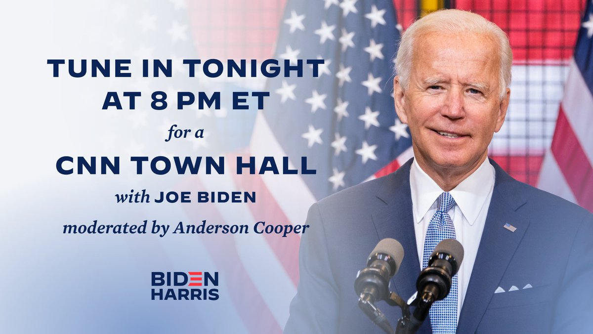I'm about to take the stage for tonight's Town Hall in Scranton, Pennsylvania. Tune in to @CNN now to watch live.