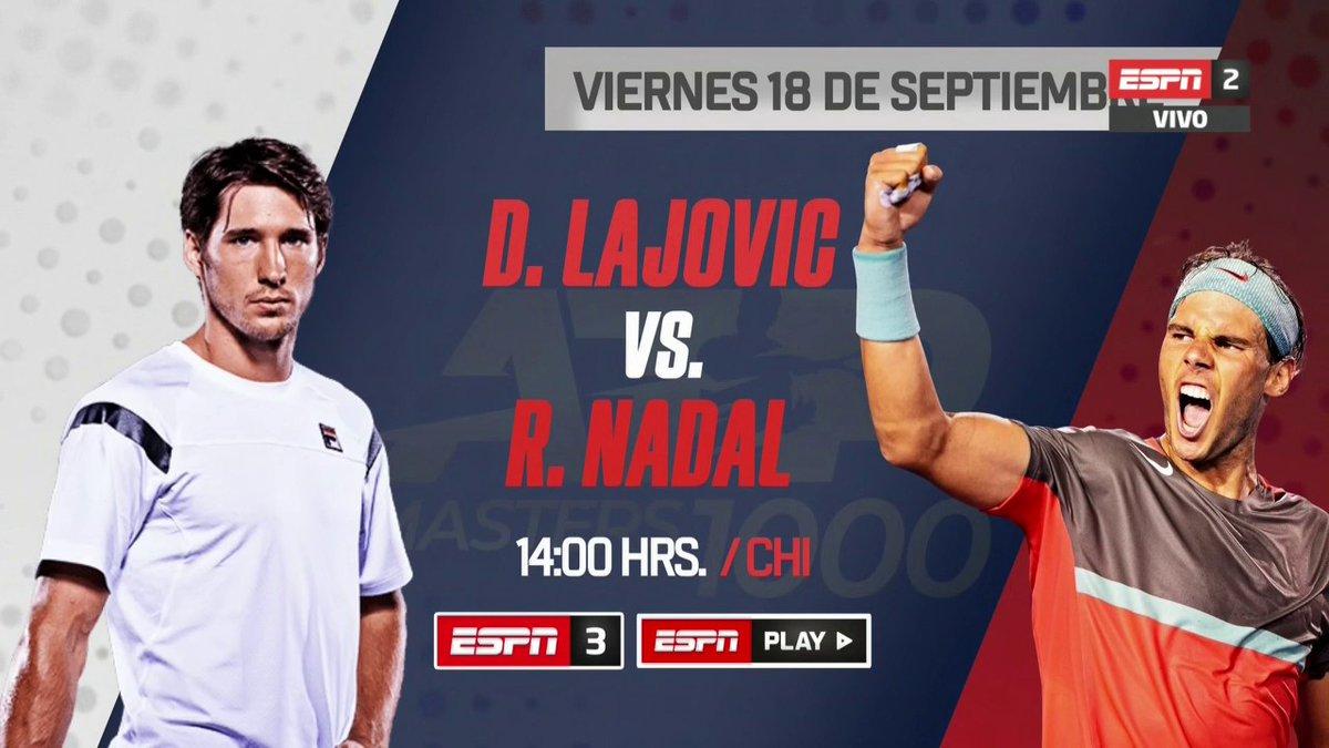 ¡Agéndalo desde ya! 👏 Mañana #Lajovic se enfrenta al gran Rafa #Nadal y lo puedes disfrutar x ESPN3 y ESPN Play 🔥🎾 #TENISxESPN #NexoChilexESPN https://t.co/ziP9lIYVL8