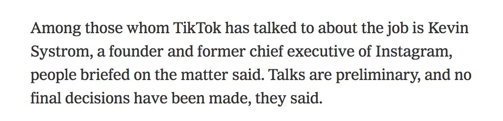 Kevin Systrom in the running to be TikTok's next CEO. It's lit. https://t.co/CBPvGWPiiV https://t.co/wEhmYh8Emn