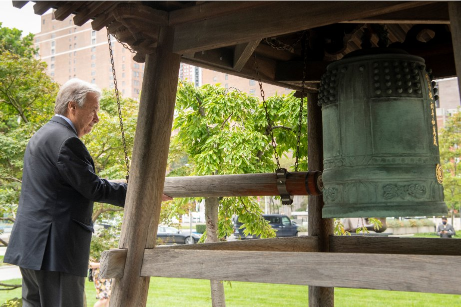 Peace is an aspiration that is only as strong as our conviction & as durable as our hope.  Ringing the Peace Bell at @UN HQ is a #PeaceDay tradition & an opportunity to recommit to the founding purpose of our Organization: preventing war & promoting peace. https://t.co/W0vTp11zzF https://t.co/dMQEt62HjM