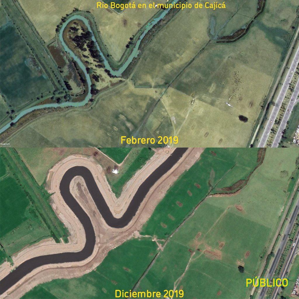 Vean esta foto del Río Bogotá en Cajicá antes y después de las obras de la CAR. ¿Sin licencia, sin permisos ambientales, sin estudios, sin participación ciudadana como en La Calera?   Vïa https://t.co/kAzZuzhhgP https://t.co/zSvyGSYB26