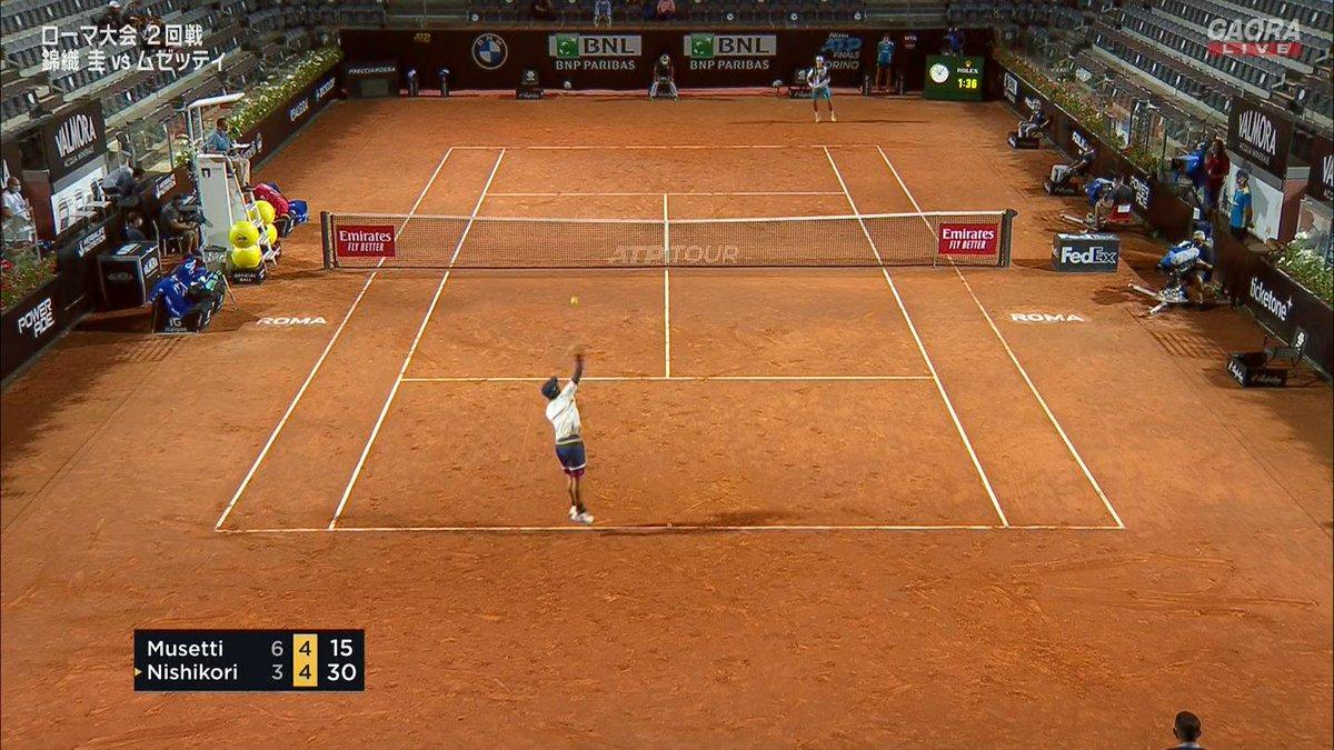 試合再開!  🇯🇵錦織圭 vs ムゼッティ🇮🇹 BNLイタリア国際 ATP Masters 1000 2回戦🎾 https://t.co/MOs7MSc1p6